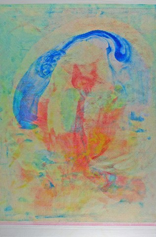 abstract painting, biomorphic, blue and yellow with green