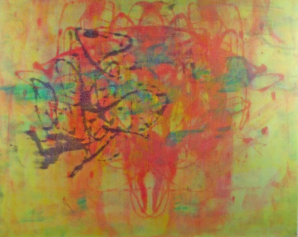 Abstract painting orange yellow green