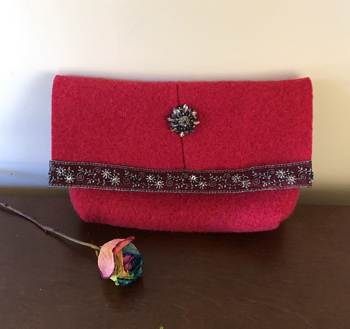 felted wool clutch bag