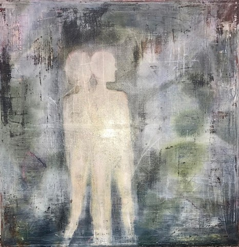 Muted grays, greens, and blue Oil on canvas with texture and two people