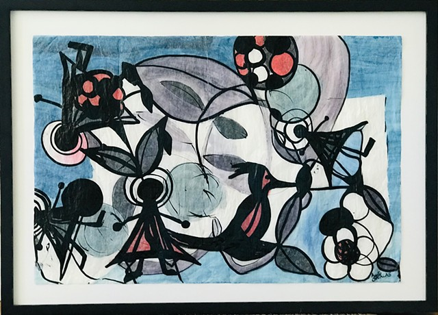 Acrylic and Ink on Glassine paper with muted lilac, blue, pink and black shapes
