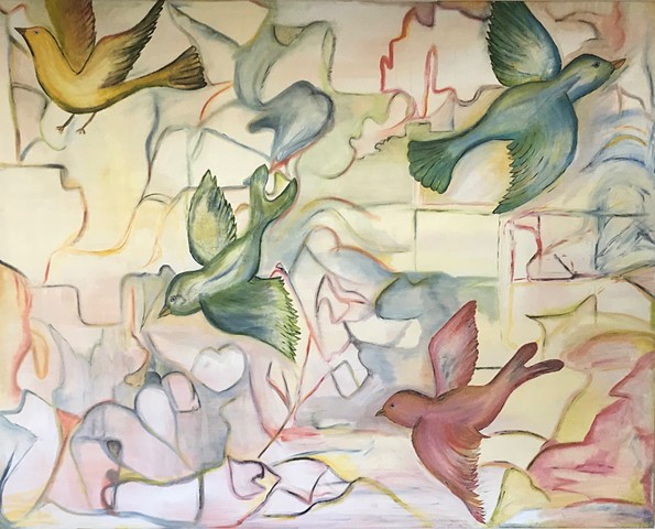 Oil on Canvas impressionist birds flying