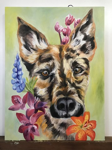 Cali - a dog memorial painting for mom.