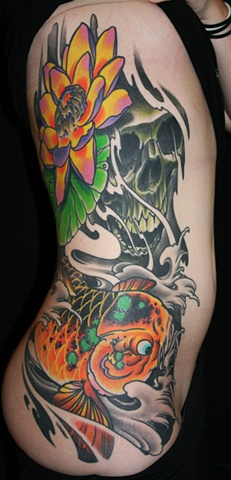 Koi and flower rib