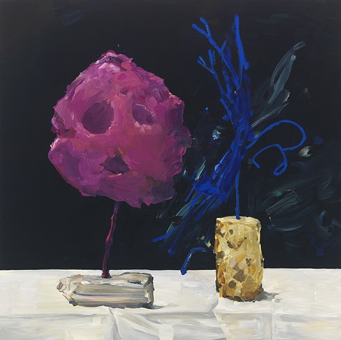 Two Yves Klein Sculptures on a Manet Tablecloth