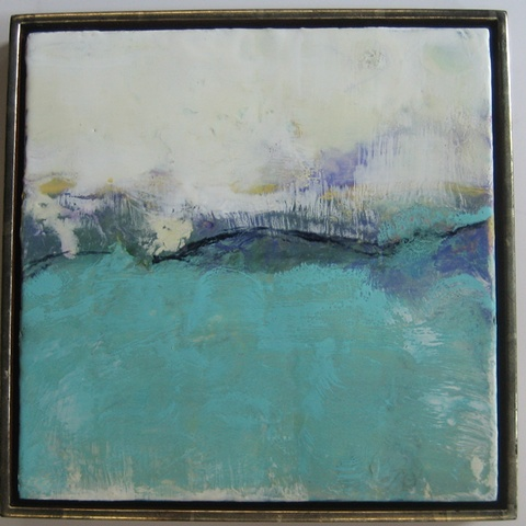 Encaustic painting, abstract landscape, imaginary landscape, beeswax with oilstick,