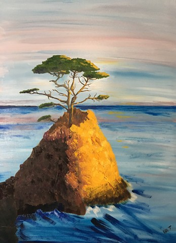 cypress tree alone on cliff over ocean, made golden in afternoon light
