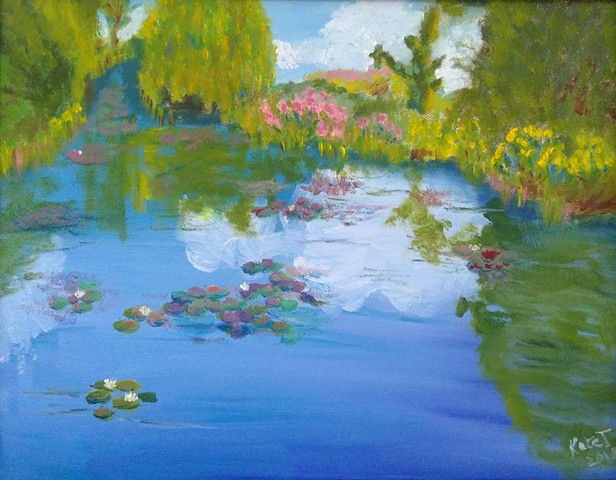 A view of a water garden at Monet's home in Giverny, cloud reflection