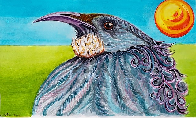 Acrylic Wash Painting of a NZ Chatham Island Tui by Alyson Dana Singer