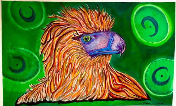 Philippine eagle, endangered species, wildlife painting, bird painting, acrylic painting