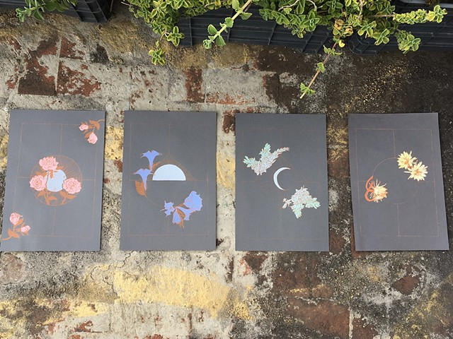 Silkscreened multi-color print of the lunar cycle and nocturnal flowers.