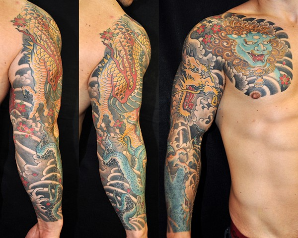 Octopus, Dragon and Shishi sleeve and chest panel