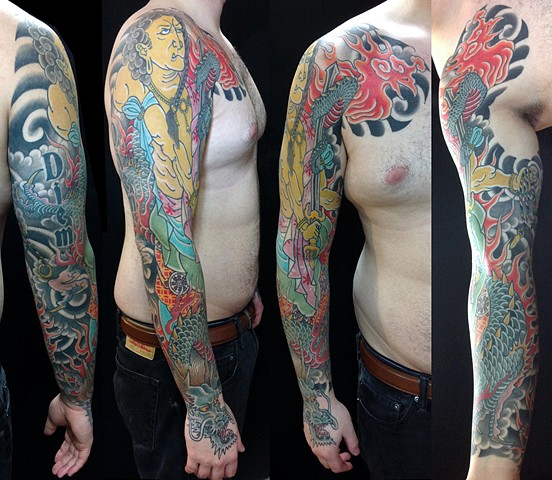 Fudo and Dragon sleeve