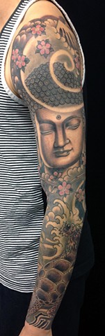 Buddha and Dragon Turtle sleeve