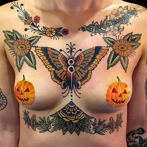 Butterfly and Flowers chest piece