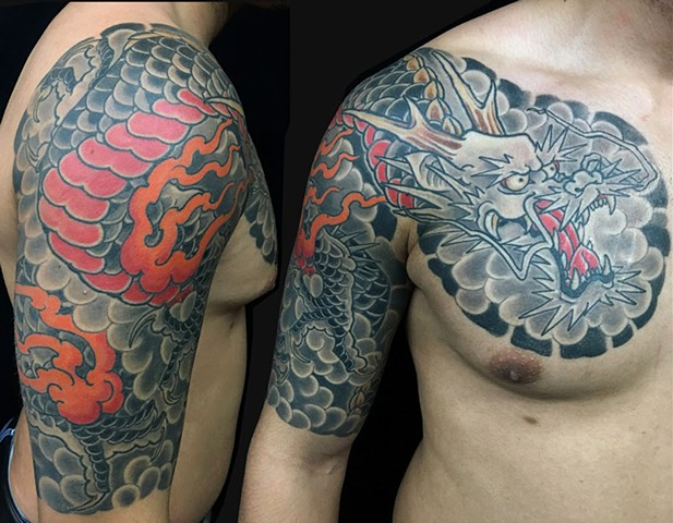 Dragon half sleeve and chest panel