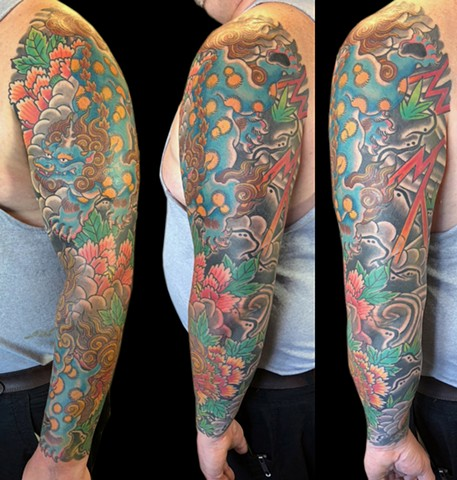Shishi, Koma Inu and Peonies sleeve