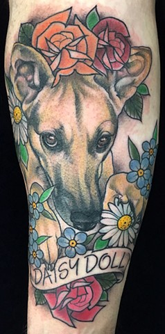 Dog Portrait with Flowers