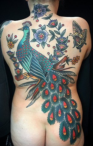 Peacock, Butterfly and Flowers backpiece