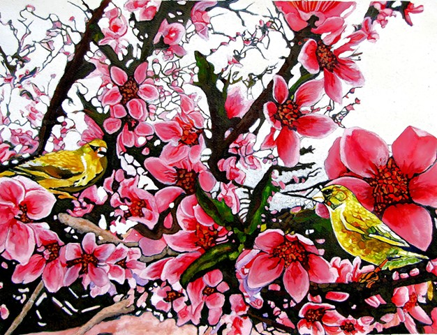 Cherry Blossom, Japan, Gold Finches, Finches, Birds, Spring, Flower, Pink, Beautiful, Colorful