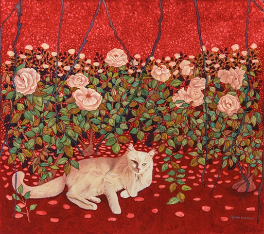 Cat, roses, red, colorful, beautiful