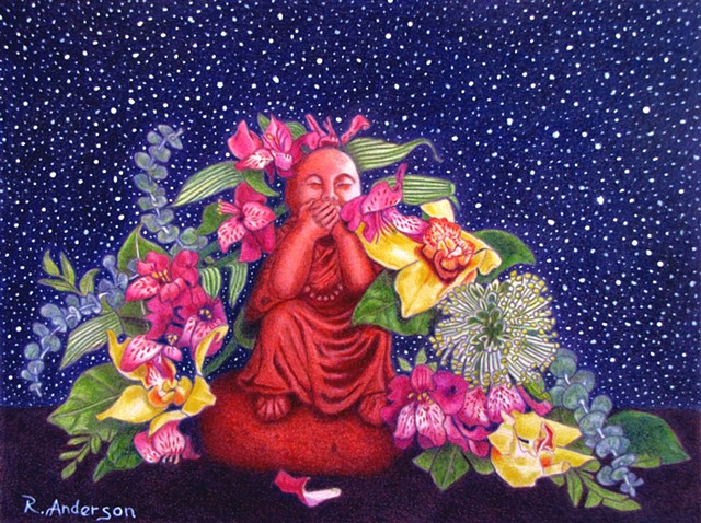 Buddha, Speak No Evil, Colorful, Flowers, Orchids, Peaceful, Beautiful