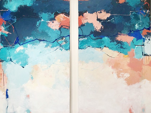 "These pieces were painted together to be hung as one large piece of 48"" x 60"" or separately to coordinate within the same coastal space."