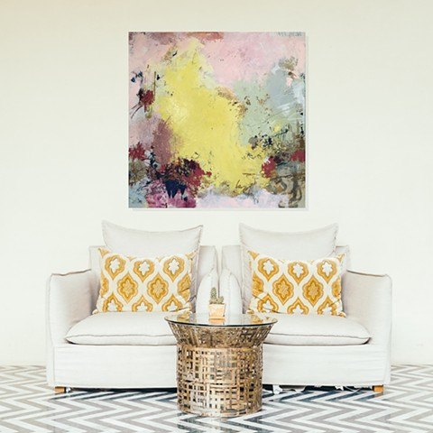 Summer abstract floral palette in modern interior decor