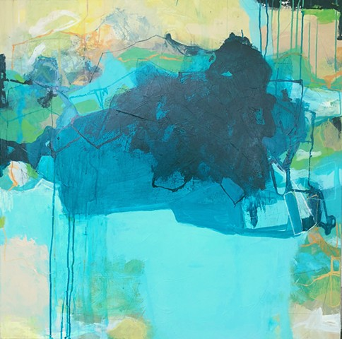 Blue, aqua, teal, and yellow abstract that has a coastal vibe