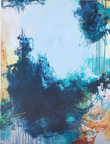 Blue, warm and cool abstract painting on gallery wrapped canvas