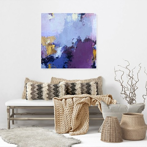 Purple tones with warm tones in this acrylic and mixed media abstract art piece on canvas
