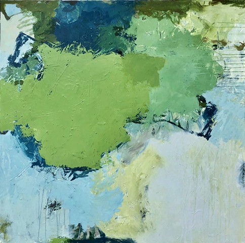 Green and blue acrylic abstract painting on canvas with mark making and soft cream