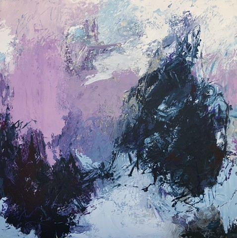Navy blue, purple, and gray large scale abstract art piece acrylic paint and mixed media