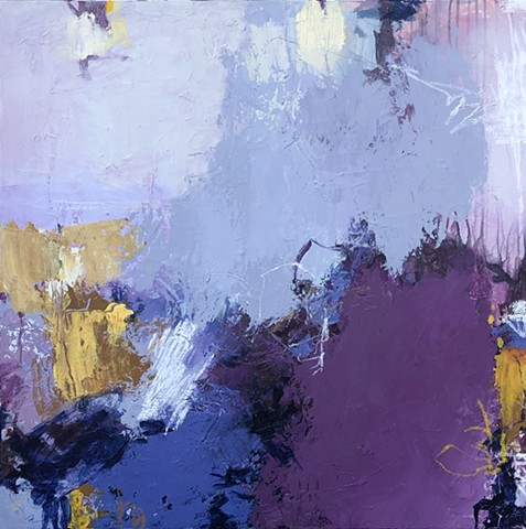 Purples, gray, and warm tones make up this acrylic and mixed media abstract art piece on canvas