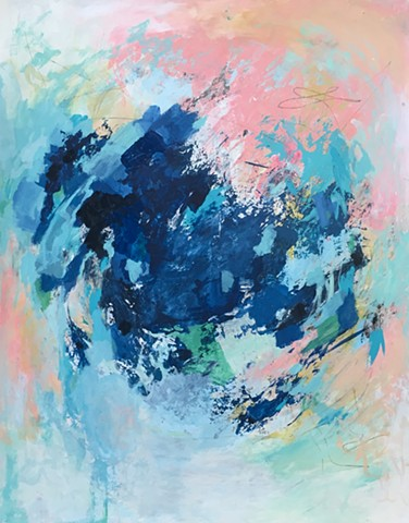 Blues, pinks, orange, and green dynamic abstract painting with lots of movement