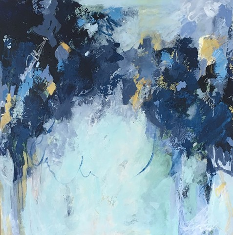 Blue, grey, warm and cool abstract painting