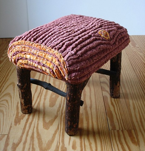 Chenille slipcover for footstool