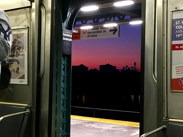 M Train view at dusk