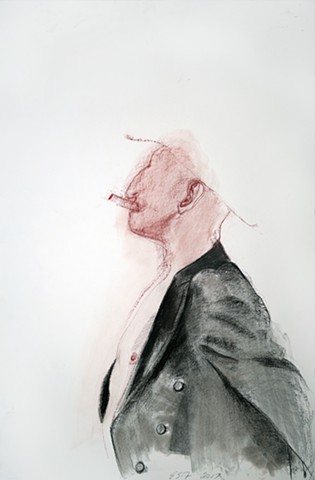 Untitled (figure study, man with jacket, smoking)