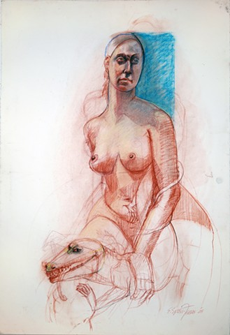 Untitled (figure study with monster)