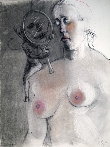 Untitled study (woman, devil with mirror)