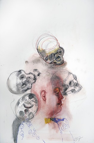 Untitled (figure study with 4 skulls)