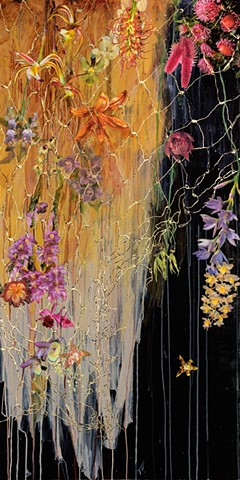 gold leaf, nets, native wildflowers, orchids