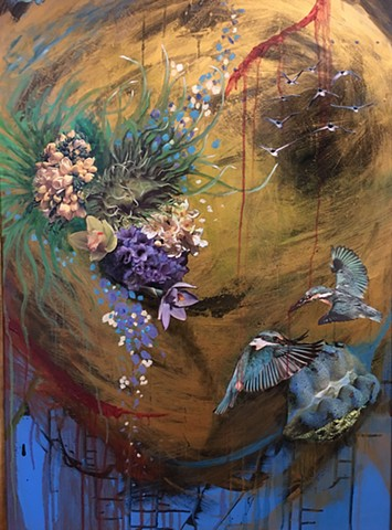 kingfishers,sea clam, birds, flowers