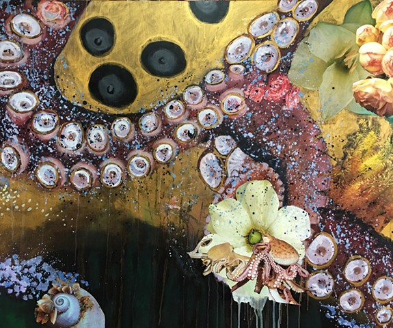 octopus, tentacles, flowers, gold leaf