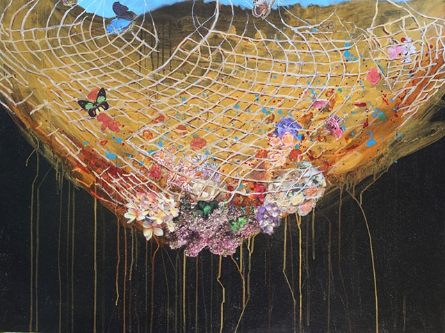 nets, gold leaf, butterflies, collage