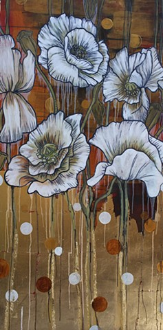 poppies,gold leaf