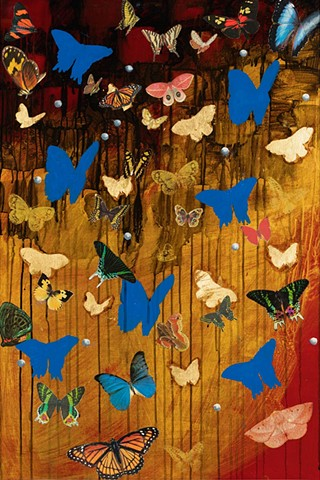 butterflies, silkscreen,collage, pearls