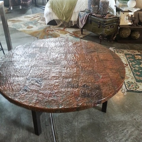 Salvaged Copper on wood table frame