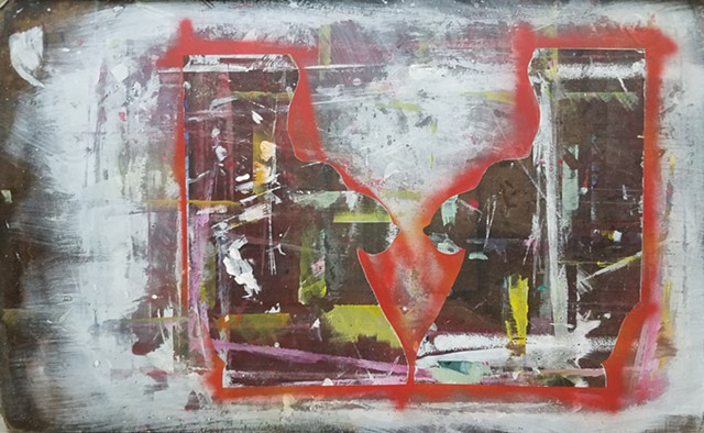 mixed media print on salvaged drawing board